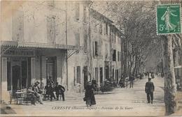 $ TRES RARE VUE $ 04 - CERESTE Avenue De La Gare Animée écrite Timbrée - Autres Communes
