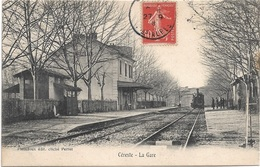 04 - CERESTE La Gare Animée écrite Timbrée - Autres Communes