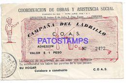 137097 ARGENTINA CORDOBA CAMPAÑA DEL LADRILLO COLABORACION VALOR $1  NO POSTCARD - Otras Colecciones