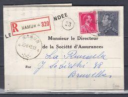 Aangetekende Brief Van Monsieur Le Directeur De La Société D'Assurances Van Namur 4 Naar Bruxelles - 1936-1951 Poortman