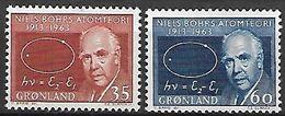GROENLAND    -   1963  .  Y&T N° 53 / 54 **.     Niels Bohr  /  Théorie De L' Atome. - Groenland