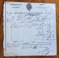 LIVORNO - DOGANA DI PORTA SAM MARCO -  BULLETTA D'INTRODUZIONE  DEL 1847 - Italie