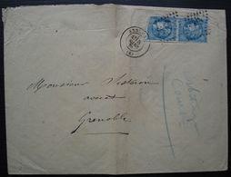 Annonay 8 Mars 1871 Paire De Cérès Emission De Bordeaux Sur Enveloppe Pour Grenoble (1 Def) - 1849-1876: Période Classique