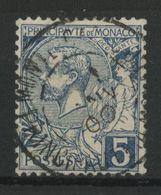MONACO N° 13 Cote 8 € Oblitéré 5 Ct Bleu Type Albert 1er.TB - Monaco