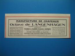 (1926) Manufacture De Chapeaux - OCTAVE DE LANGENHAGEN - Sarre-Union (Bas-Rhin) - Publicités