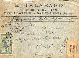 C8 1914 Lettre Recommandée Entete DISTILLATEUR A St Denis  (seine)  Avec Cachets De Cire - Marcophilie (Lettres)