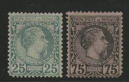 MONACO N° 6 Et N° 8 Cote 1440 € Défaut D'angle Et Regommés, 25 Ct Vert Et 75 Ct Noir Sur Rose Type Charles III - Neufs