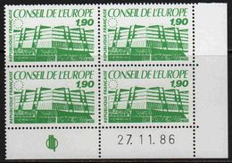 FRANCE : Service N° 93 ** Bloc De 4 Coin Daté : 27.11.86 - PRIX FIXE : 1/3 De La Cote - - Service