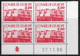 FRANCE : Service N° 94 ** Bloc De 4 Coin Daté : 27.11.86 - PRIX FIXE : 1/3 De La Cote - - Service