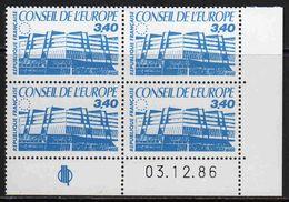 FRANCE : Service N° 95 ** Bloc De 4 Coin Daté : 3.12.86 - PRIX FIXE : 1/3 De La Cote - - Servicio