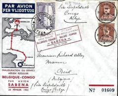 Belgique. Inauguration Du Service Aérien Régulier Sabena Belgique > Congo  22/1/35  Vab Den Bauw 166 A  Cachet Rouge - Poste Aérienne