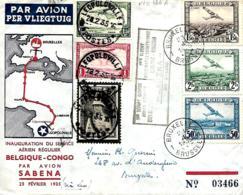 Belgique. Inauguration Du Service Aérien Régulier Sabena Belgique > Congo  22/1/35  Vab Den Bauw 166 A  Cachet Noir - Poste Aérienne