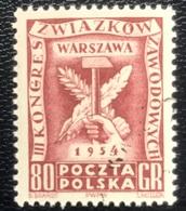 Polska - Poland - Polen - P1/8 - MNH - 1954 - Arbeiderscongres In Warschau - Michel Nr. 848 - Unused Stamps