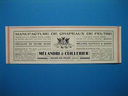 (1926) Manufacture De Chapeaux De Feutre - MÉLANDRI & CUILLERIER - Bourg-de-Péage (Drôme) - Publicités