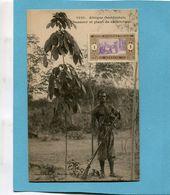 A O F- Sénégal-chasseur Et Plan De Caoutchouc-gros Plan Animé-édition Fortier-années 1910-20 - Senegal