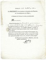 DIGNE 1810 PRESIDENT CHAMBRE DISCIPLINE DES NOTAIRES JAUBERT - AVERTISSEMENT D UNE ASSEMBLEE - Historical Documents