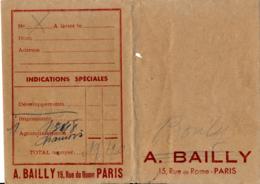 Pochette Pour Photos : A. BAILLY, 15 Rue De Rome, Paris - Photography