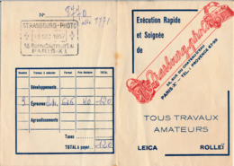Pochette Pour Photos (1957) : STRASBOURG-PHOTOS, 55 Rue Du Château-d'Eau, Paris, Cachet, Tous Travaux Amateurs - Photography