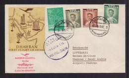 THAILAND 31/8/1960 FIRST FLIGHT LUFTHANSA BANGKOK-DHAHRAN POSTMARK ON COVER - Tailandia