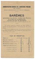 ASSISTANCE PUBLIQUE BAREMES POUR DROIT DES PAUVRES 1920 - Historical Documents