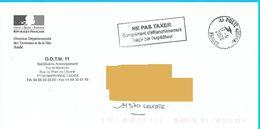 Cachet Ne Pas Taxer Cachet Manuel La Poste Env DDTM Aude Logo République - Postage Due