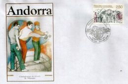 ANDORRA . Championnat Du Monde De Pétanque En Andorre.1991 (équipe Française,Dream Team De La Pétanque Mondiale) FDC - Bowls