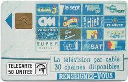 Monaco - MF12 - Télé Cablée - Gem1A Symmetr. Black, 01.1991, 50Units, 50.000ex, Used - Monaco