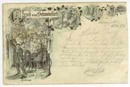 Schweinfurt 1897 Mostkneipe Seltene Ansichtskarte Lithografie - Schweinfurt