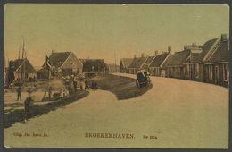 Broekerhaven - Stukje Van Hoogkarspel - De Dijk, Gelopen Tulpkaart, Gelopen In 1916, Langebalkstempel Bovenkarspel - Pays-Bas