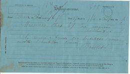 Télégramme Chateauneuf -> Bordeaux Cad Bleu Bordeaux Central 1880 - Marcophilie (Lettres)