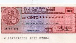 MINI ASSEGNO -ISTITUTO BANCARIO SAN PAOLO DI TORINO 100 LIRE AUNC - [10] Checks And Mini-checks