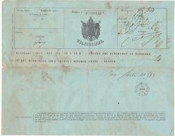 Télégramme Paris -> Bordeaux, Cachet Rectang. Noir  + Cachet  Bordeaux Central * A * 1866 - 1849-1876: Période Classique
