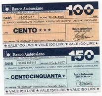MINI ASSEGNO -BANCO AMBROSIANO 100 150 LIRE UNC - [10] Scheck Und Mini-Scheck