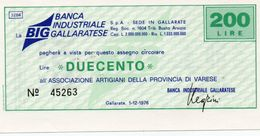 MINI ASSEGNO - BANCA INDUSTRIALE GALLARATESE 200 LIRE UNC - [10] Checks And Mini-checks