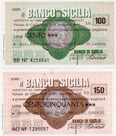 MINI ASSEGNO -LA  BANCA  DI SICILIA 100 150 LIRE UNC - [10] Scheck Und Mini-Scheck