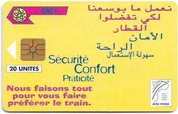 Morocco - Afric Phone - Sécurité Confort Praticité (Yellow), Gem1A Symmetr. Black, 20Units, Used - Maroc