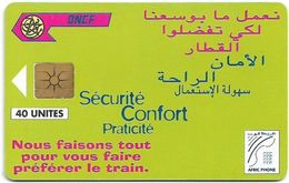 Morocco - Afric Phone - Sécurité Confort Praticité (Green), Gem1B Not Symmetr. White-Gold, 40Units, Used - Maroc