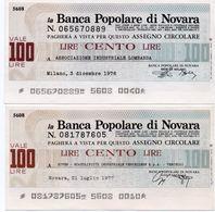 MINI ASSEGNO -LA  BANCA  POPOLARE DI NOVARA 100 LIRE  1976-1977  UNC - [10] Checks And Mini-checks