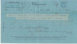 Télégramme Londres-> Bordeaux, Cachet Bleu Bordeaux Central  + Tarif. SPECIAL 1880 - Marcophilie (Lettres)
