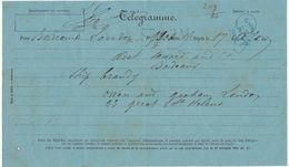 Télégramme Londres-> Bordeaux,  T. SPECIAL En Rouge (RR), C. Bordeaux Central (E) Bleu 1878 - Marcophilie (Lettres)
