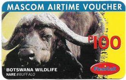 Botswana - Mascom - Wildlife Series - Buffalo, GSM Refill 100P, Used - Botswana