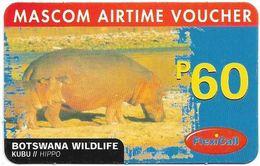 Botswana - Mascom - Wildlife Series - Hippo, GSM Refill 60P, Used - Botswana