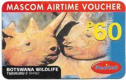Botswana - Mascom - Wildlife Series - Rhino, GSM Refill 60P, Used - Botswana