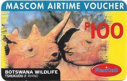 Botswana - Mascom - Wildlife Series - Rhino, GSM Refill 100P, Used - Botswana