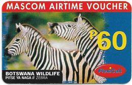 Botswana - Mascom - Wildlife Series - Zebra, GSM Refill 60P, Used/ - Botswana