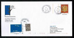 976 MAYOTTE DZOUMOGNE 29-8-2013 Poste Restante Dugongs + 0,05€ Pour Taxe Réglementaire Au Tarif S/ PAP ANDORRE + Dos !! - Lettres Taxées