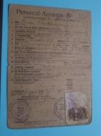 PERSONAL AUSWEIS N° 33 / Cantiniaux Hector > Sars-La-Bruyère > 23 Aout 18?9 ( Voir / Zie Scans ) ! - Dokumente