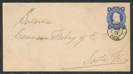 CHILE - Stationery. 1903. Dinquin - Santa Fe. Postal Agency On Train. 5c Stat Env. VF. EX-West. Deal! - Chile