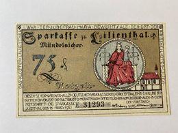 Allemagne Notgeld Lilienthal 75 Pfennig - [ 3] 1918-1933 : République De Weimar