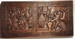 """Ancienne Sculpture Sur Bois Bas Relief En Iroko """"Scène De Village"""" Art Africain (pièce Unique) - Art Africain"""